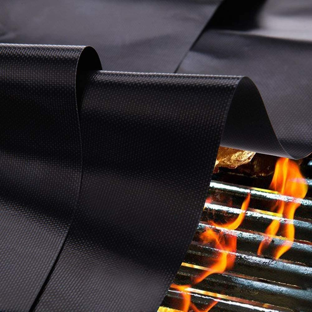 CQ Tapis Barbecue en Fibre De Verre Anti-AdhéSif Mat Haute TempéRature Mat black