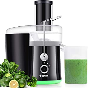 COSTWAY Juicer Machine, Centrifugal Juicer with 3-Inch Wide Mouth, BPA-Free Stainless Steel Juicer Maker with 2-Speed Control, High Speed Masticating Juicer Extractor for Fruits and Vegetable with Slag Pot and Juice Jug