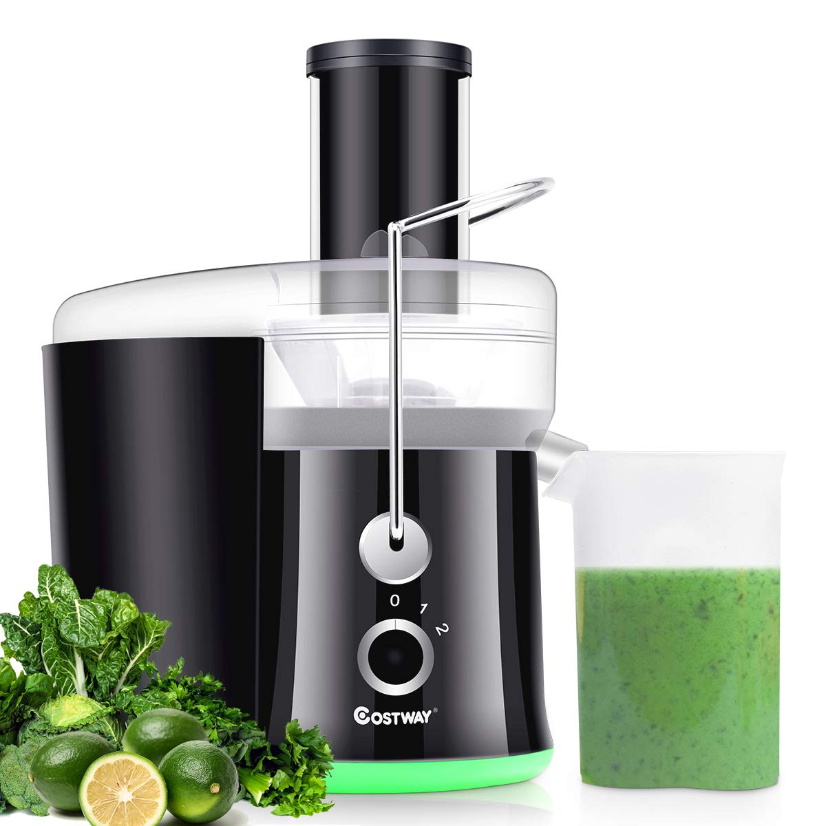 COSTWAY Juice Extractor, 65MM Wide Mouth Stainless Steel Juicer Machines, 2-Speed Setting High Speed Masticating Juicer Machine for Fruits and Vegetable with Slag Pot and Juice Jug, BPA-Free (Black+Green)