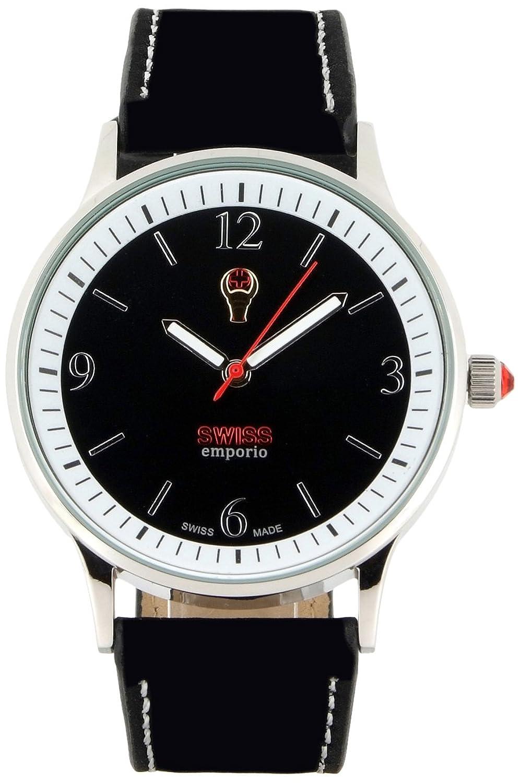 Swiss EMPORIO Herren-Quartz Swiss Made-Uhr mit schwarzem Zifferblatt Analog-Anzeige und schwarz Lederband se01bksl