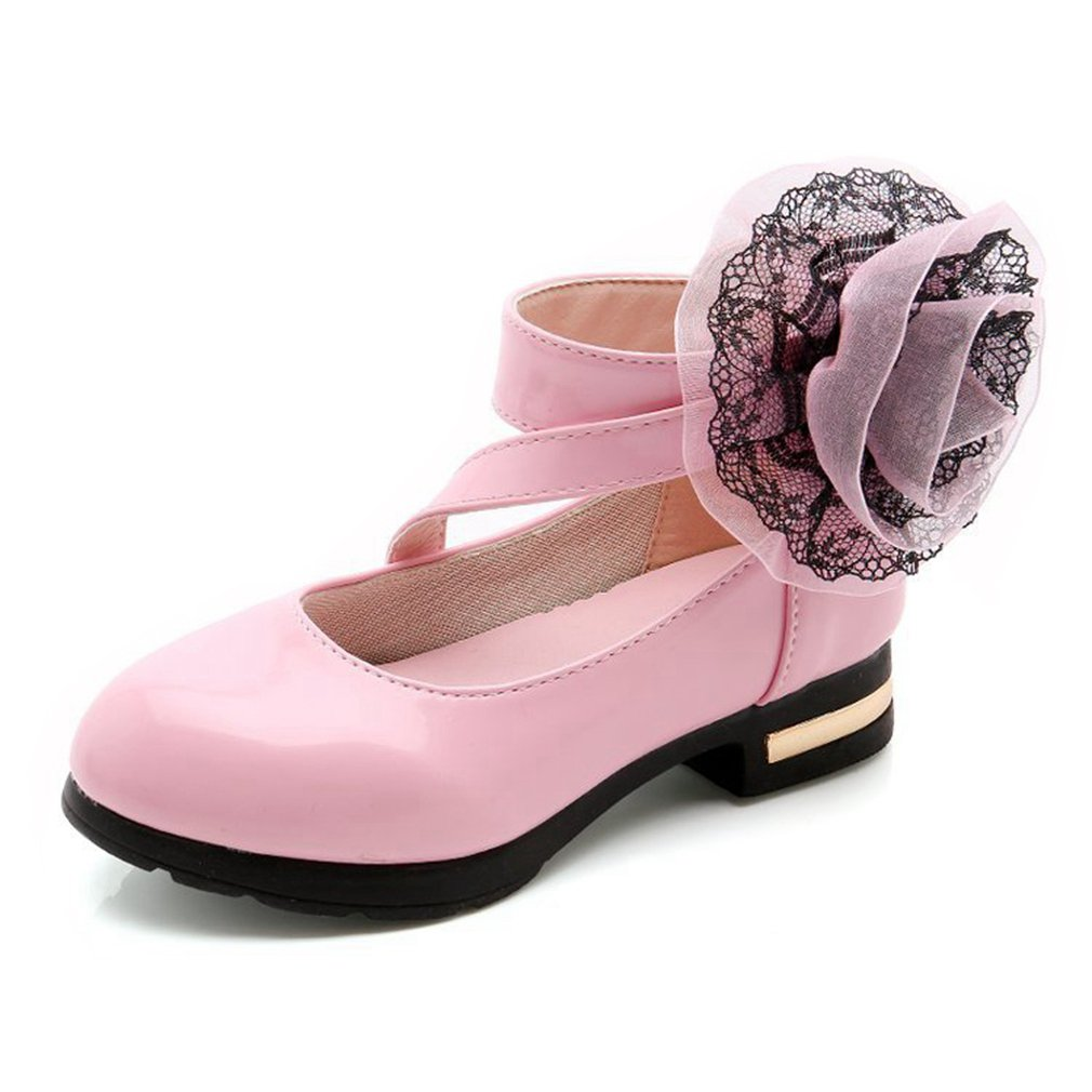 CYBLING Princess Dress Party Dance Shoes Side Flower Strap Girls Mary Jane Flats (Toddler/Little Kid/Big Kid)