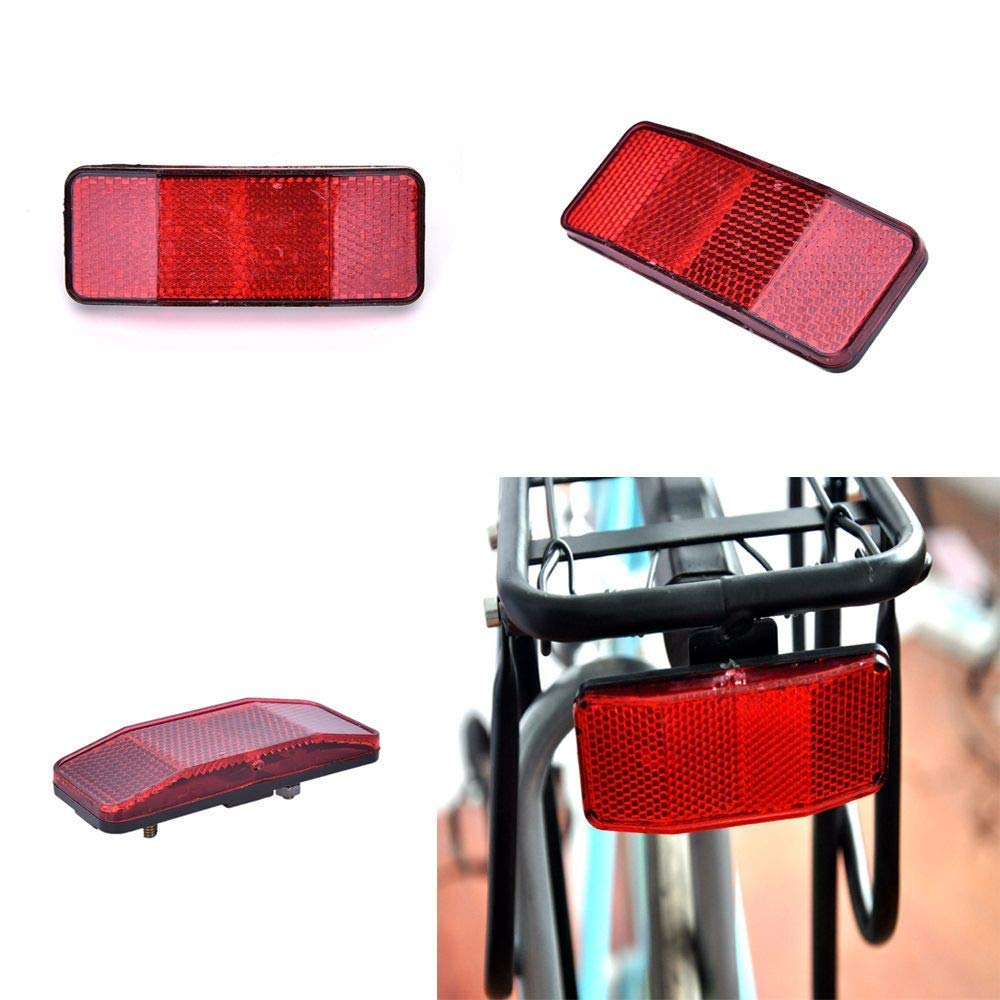 Genenic Bike Rear Reflector Kit,Bicycle Safety Caution Warning Reflector for Rear Pannier Racks Frame,Set of 2