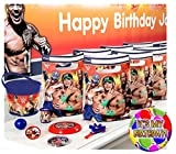 WWE World Wrestling Entertainment All Inclusive PRE-FILLED Birthday Party Favor Pack! Includes Goodie Bags & Souvenier! Plus Bonus Keepsake Favor Bucket & Pin For Birthday Child!
