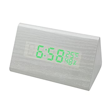 Prom-near New triangular Reloj despertador digital- Reloj con pantalla LED Control de voz- Brillo de 3 niveles Indicador de temperatura en madera ...