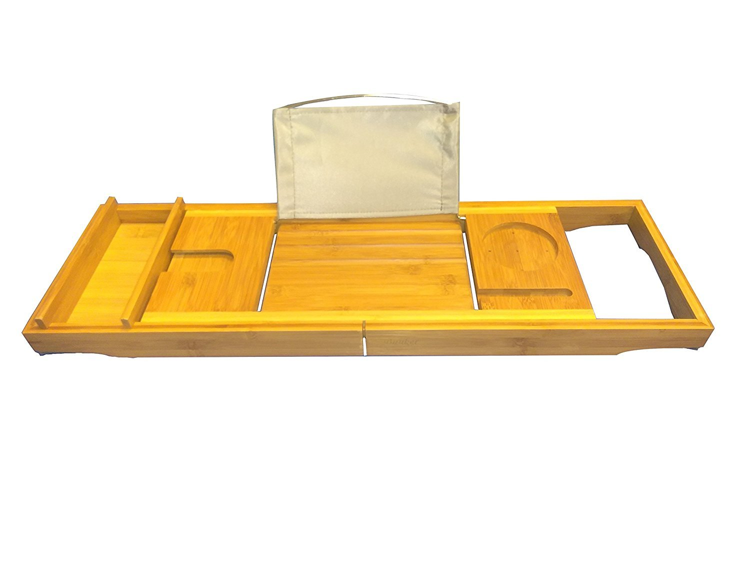 Luxurious 100% Bamboo Bathtub Caddy | Sturdy extendable sides | Bath Tray | Relax and enjoy with 2 built in drink holders and adjustable book rest | Smart phone Cutout | Extra Side Tray | Perfect Gift BUNKER001