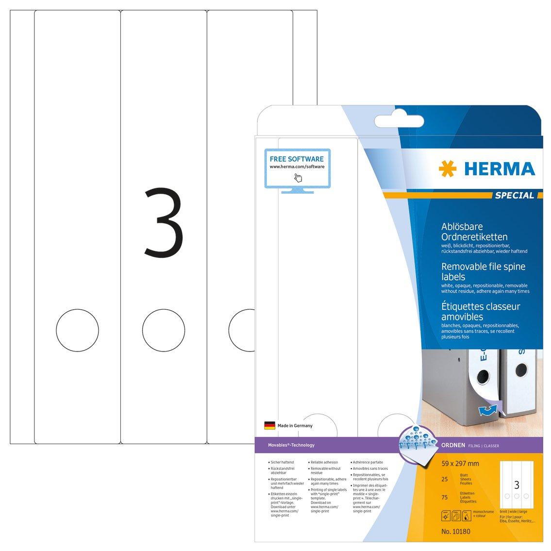 Herma 10180 - Etiquetas de archivador despegables A4, 59x297 mm, papel mate opaco, 75 unidades, color blanco: Amazon.es: Oficina y papelería