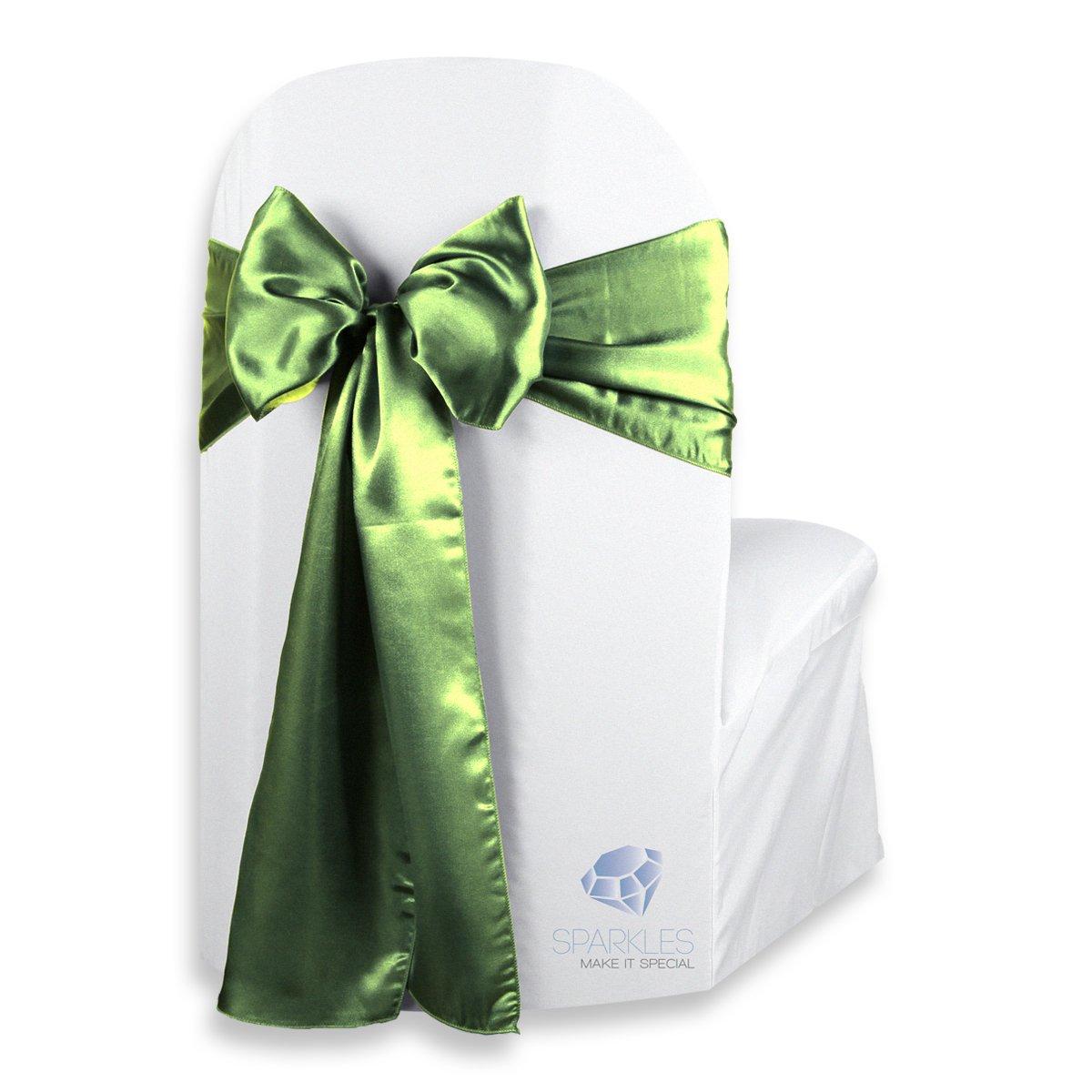 Sparkles Make It Special 10個108 x 8インチサテン椅子カバー弓ウェディングサッシセージグリーン B019XWSQLK
