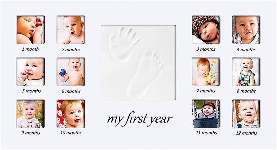 ESden Bilderrahmen f/ür Neugeborene mit Fu/ßabdruckMein erstes Jahr