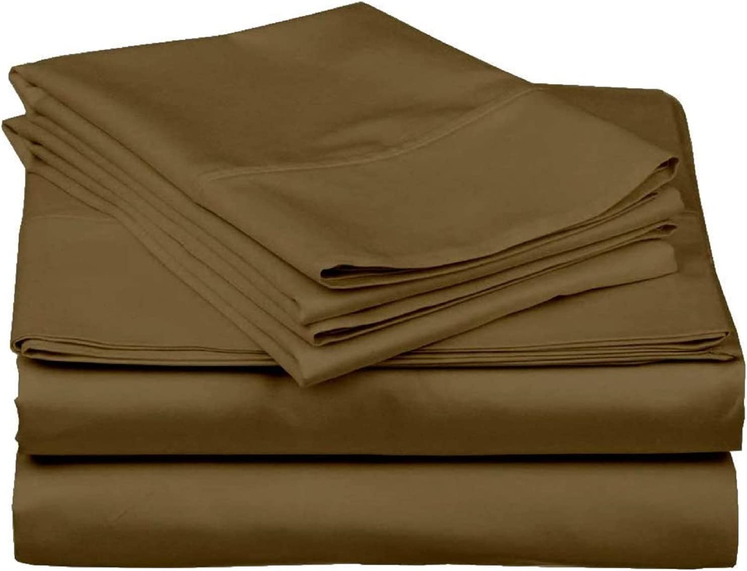 MD Home Decore Split Head King Bed Sheet Set 4PCs - 400 TC Egyptian Cotton Split Head Sheets Set The top or Flex Head of The Mattress- Split 34 inches Down - Taupe Solid, Split King Size