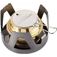 OVERMONT Mini miedziany czajnik spirytusowy, kuchenka kempingowa z aluminiowym stojakiem, na kemping, wędrówki…
