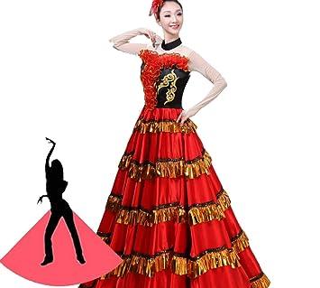 ZYLL Falda Flamenca Clásico Traje De Baile Español para Mujer ...