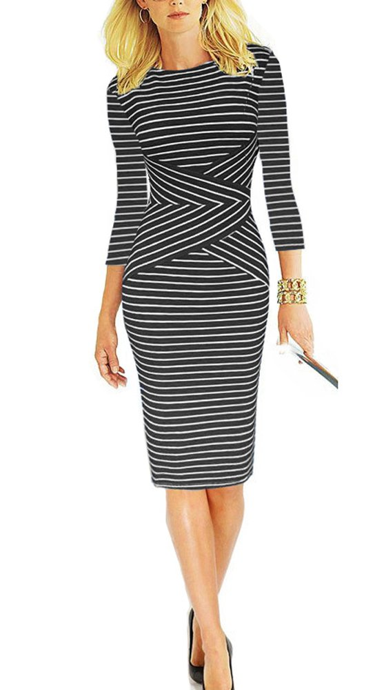 REPHYLLIS Women 3/4 Sleeve Striped Wear to Work Pencil Dress US Size (Medium, Black) by REPHYLLIS