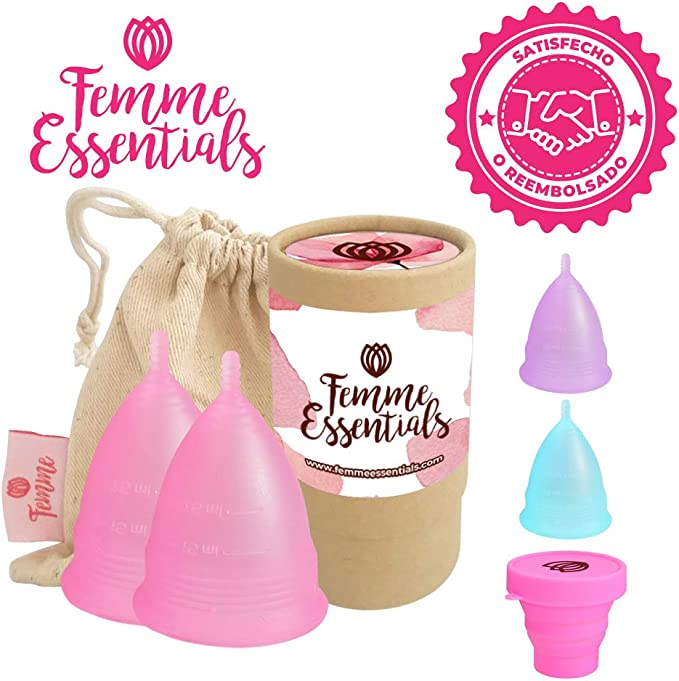 2x Femme Essentials Copa Menstrual + Bolsa de Algodón | 100% de Silicona Hipoalergénica para Uso Médico | Ecológica, Segura, Cómoda y Higiénica | ...