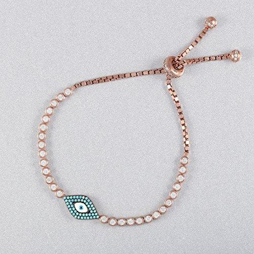 Zircon Eyes (925 Sterling Silver White Zircon Handmade Evil Eye Tennis Bracelet Adjustable)