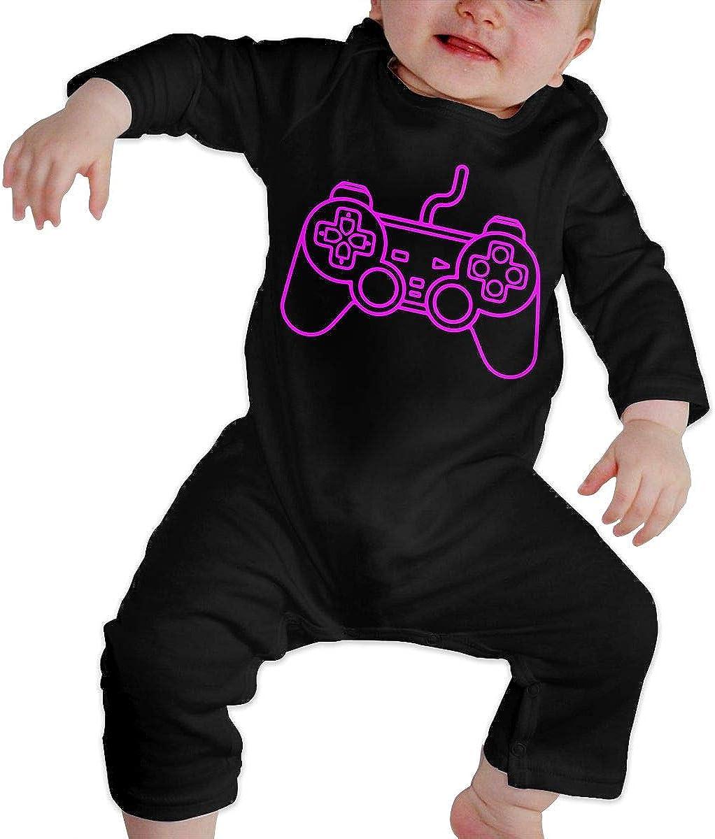 Playstation Controller Printed Boys Girls Jumpsuit Long Sleeve Rompers Black