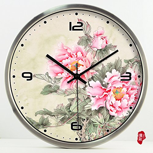 (TNKML Large Indoor Decorative Wall Clock Vintage Peony Creative Clocks Quartz Clock Country Mute Classic Living Room Kitchen Hotel Clubhouse Garden Clock 183, 14 Inch, Silver Metal Frame)