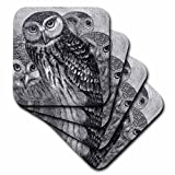 3dRose CST_151439_3 Group of Four Owls Black & White Owl Engraving Etching Detailed Fine Art Birds Night Animals Ceramic Tile Coasters, (Set of 4)