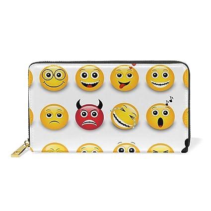 COOSUN Cuero Amarillo Emoticonos Emojis Bolso de Embrague ...