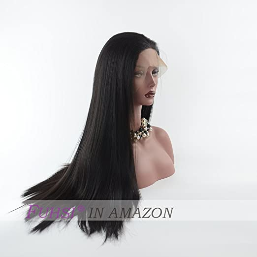 Amazon.com : FUHSI Hair Synthetic Hair Lace Front Wig Straight Hair Wigs with Baby Hair For African Americans Kanekalon Futura Modacrylic Natural Color ...