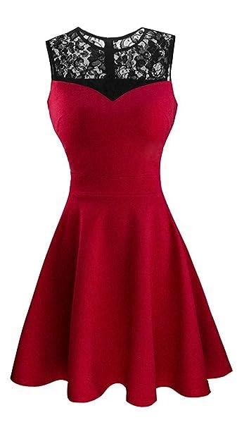 17867fa331c0 Damen ärmellos Rundausschnitt Falten A-Linie Partykleid Mini Cocktailkleid  kurz Festliche Kleid