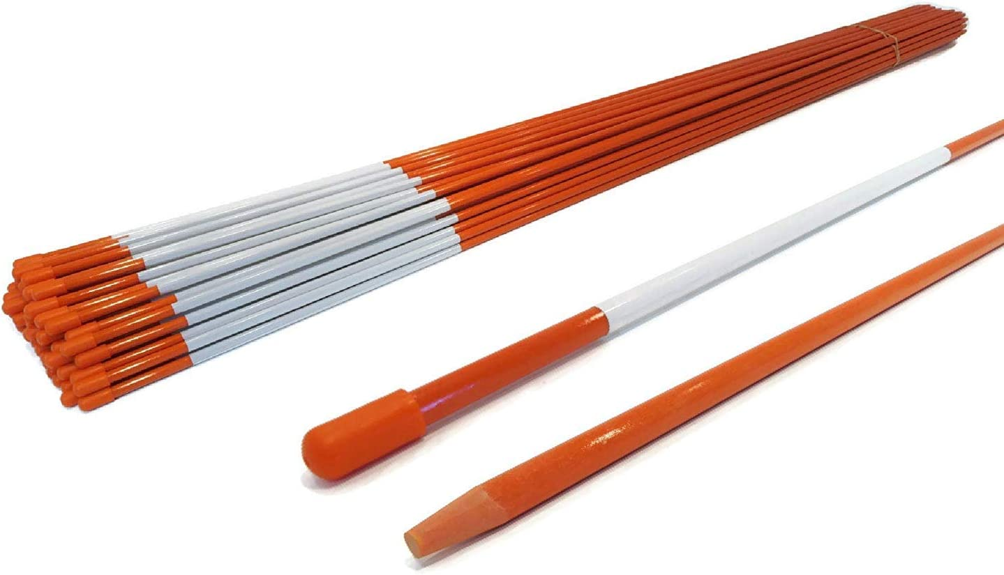 The ROP Shop | 5/16 Inch (Pack of 20) Orange 48 Inch Reflective Driveway Markers, Snow Stakes Poles for Snow Plowing Driveways, Parking Lots, Walkways, Sidewalks