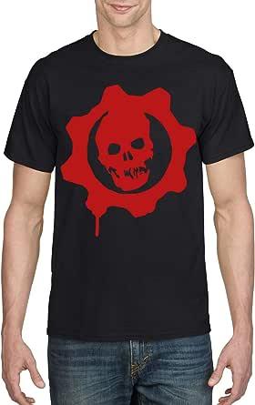 Black Male Gildan Short Sleeve T-Shirt - Gears of war Logo – Red design