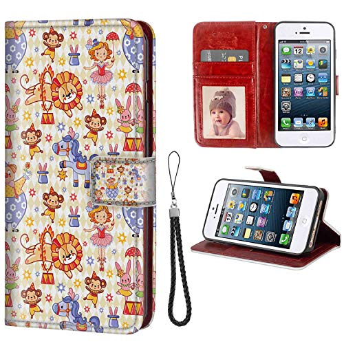 Wallet Phone Case Compatible Apple iPhone 5, iPhone SE, iPhone 5S Zoo Carnival Circus Theme with Cheerful Mascots Monkey Lion Bunny Acrobat Girl and Clown Multicolor with Coin Slot Case