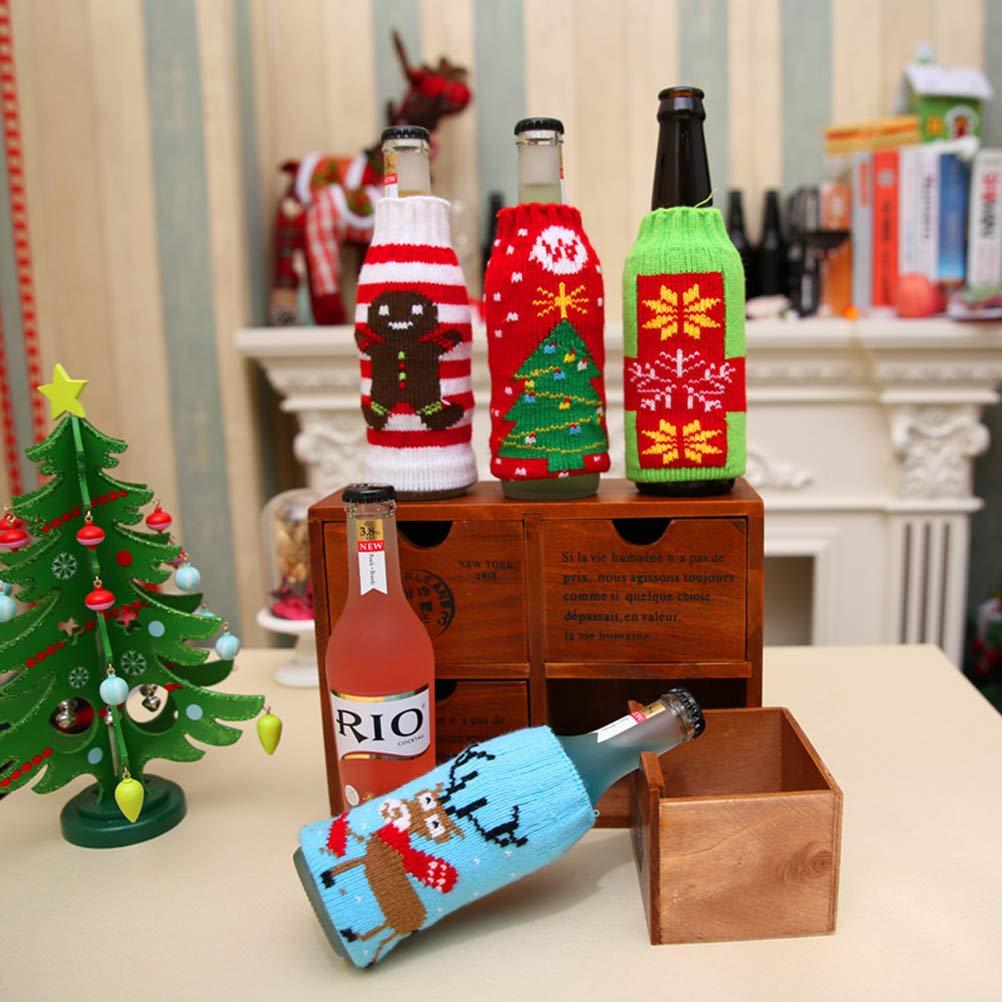 BESTOYARD Christmas Wine Bottle Cover Knitting Stockings Wine Bottle Set Christmas Decoration Supplies Gingerbread Man