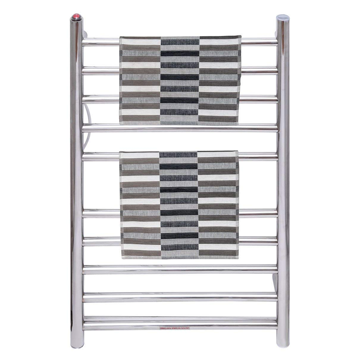 Tangkula Towel Warmer 10 Bar 80W Home Bathroom Space Saving Wall Mounted Cloth Bath Towel Heated Drying Rack (Silver 003) Towel Warmer Drying Rack
