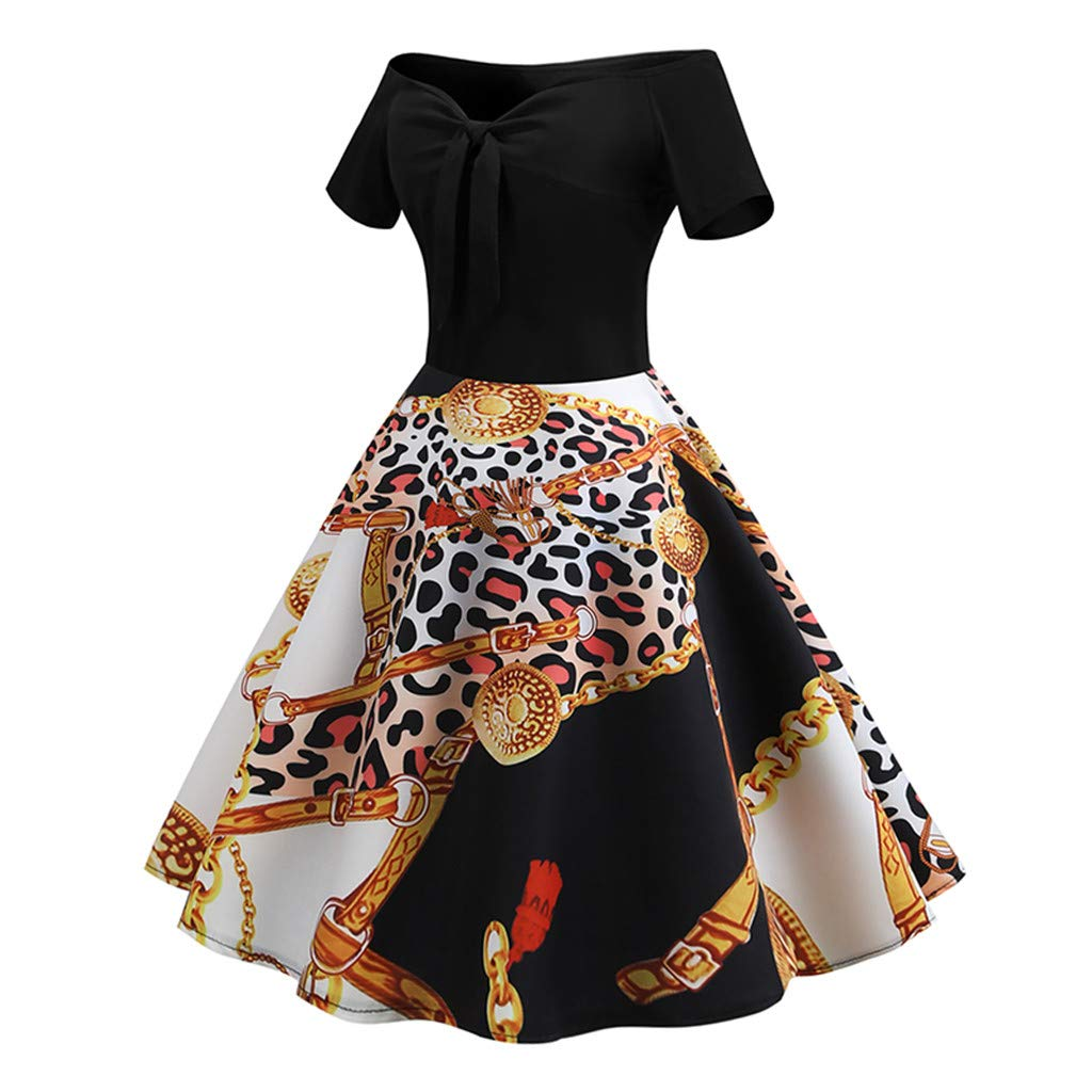 general3 Women Elegant Dress Off Shoulder Printing Swing Bow-Knot Cocktail Party Dress with Scalloped Hem
