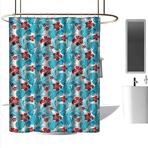 homehot Shower Curtains Fabric Grey Luau,Palm Tree Leaves with Hibiscus Petals Traditional Icons of Exotic Beach Illustration,Blue Red,W72 x L84,Shower Curtain for Girls Bathroom