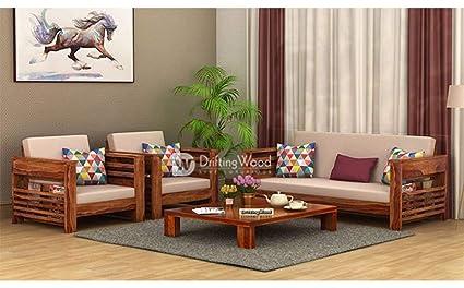 Driftingwood Wooden Sofa Set For Living Room 5 Seater Sofa Set 3 1 1 Teak Finish Sheesham Amazon In Home Kitchen