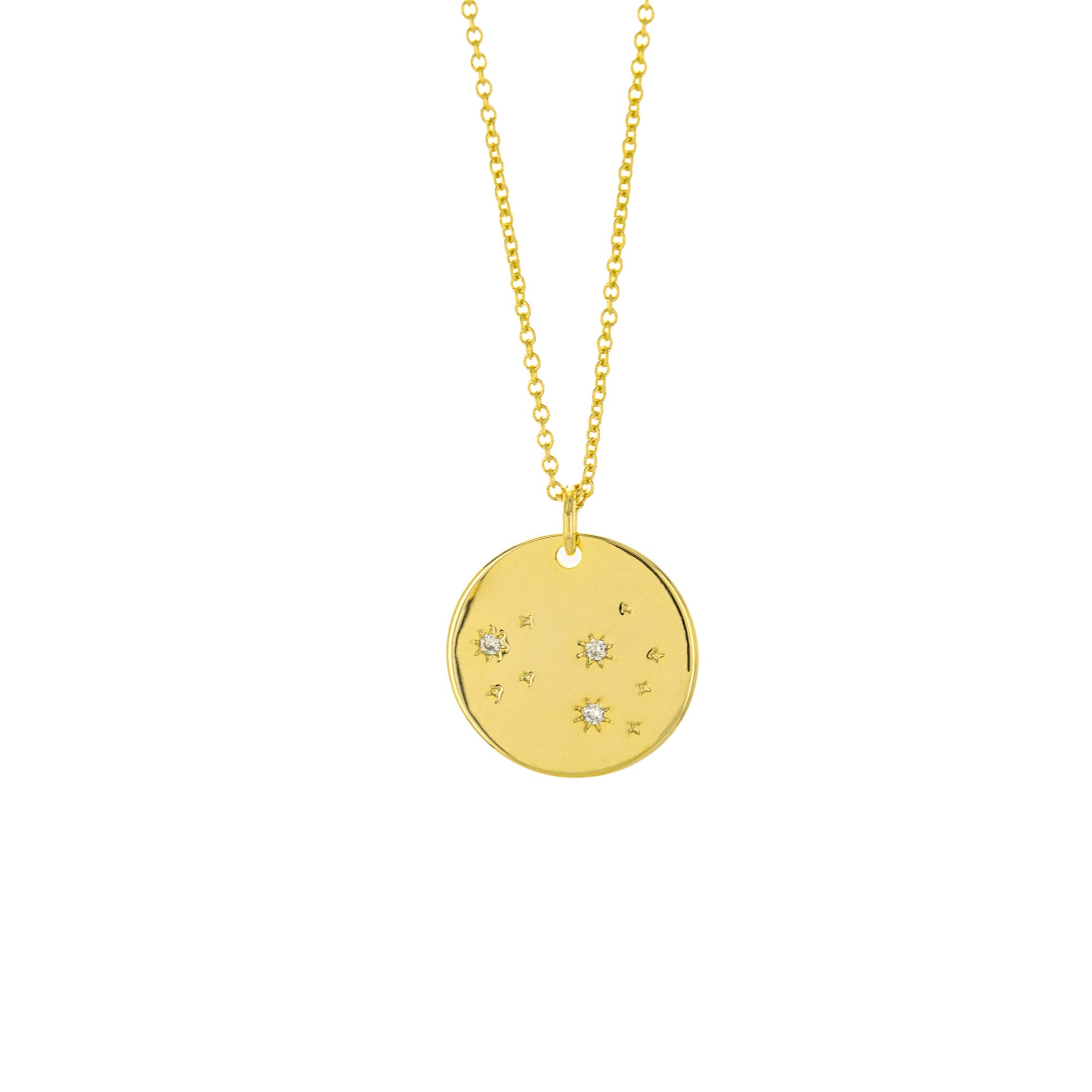 Columbus 14K Gold Plated Astrology Horoscope Constellation Zodiac Coin Necklace (Leo)