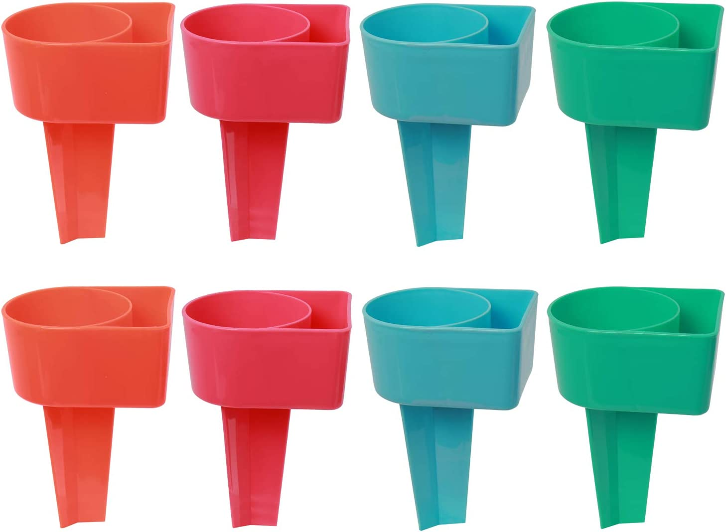 NovelBee 8 Pack of Plastic Multifunction Beverage Sand Cup Holders for Vacation Beach Accessory,Color:Red,Pink,Blue,Green