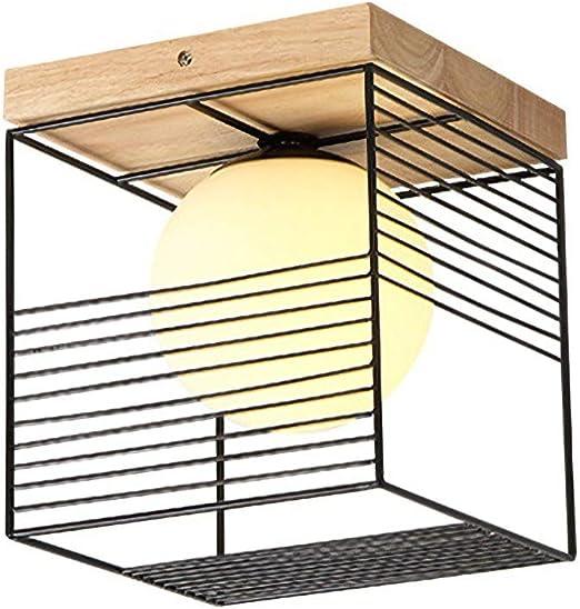 Moderno Cuadrado Luz de techo Negro E27 Pasillo Escalera Balcón Lámpara de techo Comedor creativo Mesa de comedor Iluminación de techo Metal Pantalla Estudio Iluminación: Amazon.es: Iluminación