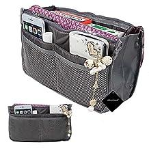 Travel Bag in Bag, xhorizon TM SR Organizer Compartment Bag Large Purse Tidy & Neat 13 Pockets Travel Perfector Insert Handbag Pouch - Grey