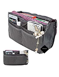 Travel Bag in Bag, xhorizon TM SR Organizer Compartment Bag Large Purse Tidy & Neat 13 Pockets Travel Perfector Insert Handbag Pouch - Grey