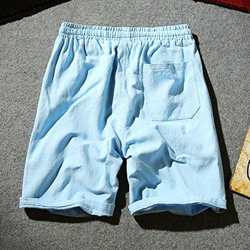 Plus da Sky spiaggia Pantaloncini da Bermuda in Pantaloni Size cargo uomo Pantaloncini sportivi cinesi elastico Blue Vita lino F6Twxd6
