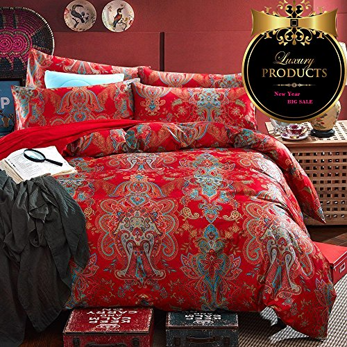 Luxury Jacquard Queen 7 Piece (Floral Red Duvet Cover Set Queen Vintage European Jacquard Duvet Cover Set Luxury Sateen Cotton Bedding Set Romantic Wedding Duvet Cover Set Warm Autumn Winter Comforter Cover Set, Style1)