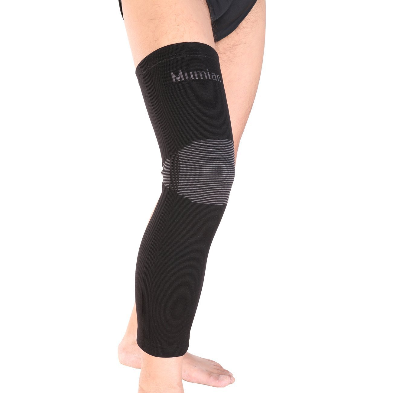 REIZ Elastic Sports Leg Knee Support Brace Wrap Protector Knee Pad Long Knee Sleeve Cap Patella Guard Knee A6 - Black - 1PCS