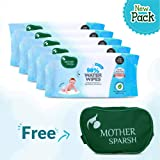 Mother Sparsh Baby Water Wipes (Pack of 5, 80 Wipes + 1 Baby Kit Pouch) - Plant Based Fabric, 100% Biodegradable Wipes