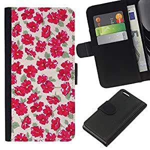 KingStore / Leather Etui en cuir / Apple Iphone 5C / Modelo verde amarillento Flores florales