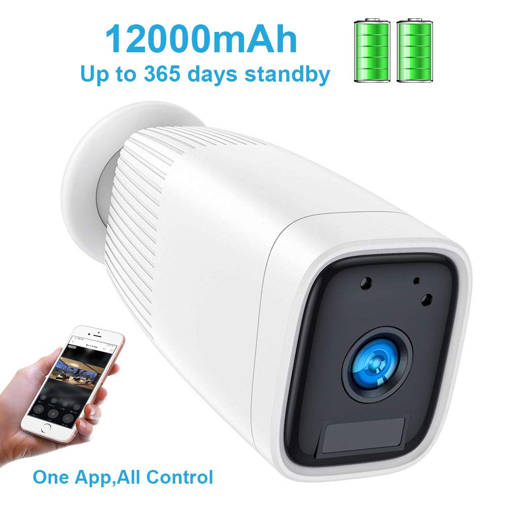 Wireless Rechargeable Battery Camera,FUVISION 1080P Outdoor Security CCTV Camera System,Motion Detect,Night Vision,IP66 Waterrproof,12000mAh Battery,2-Way Audio Wire-Free Security IP Camera White