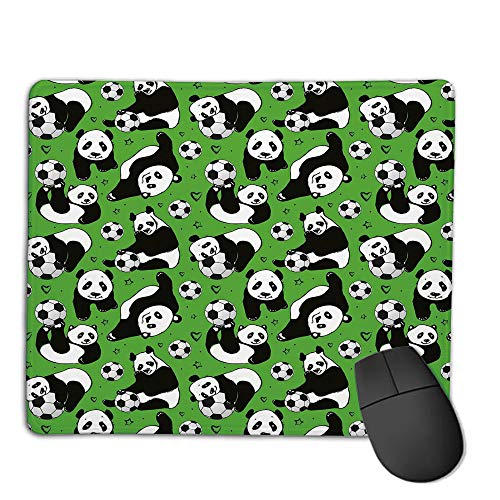 Comfortable Mouse Pad Quality Selection,Soccer,Funny Panda Animals Playing with Balls Hand Drawn Style Hearts and Stars Decorative,Lime Green Black White,Consoles More Enjoy Precise & Smooth Operati