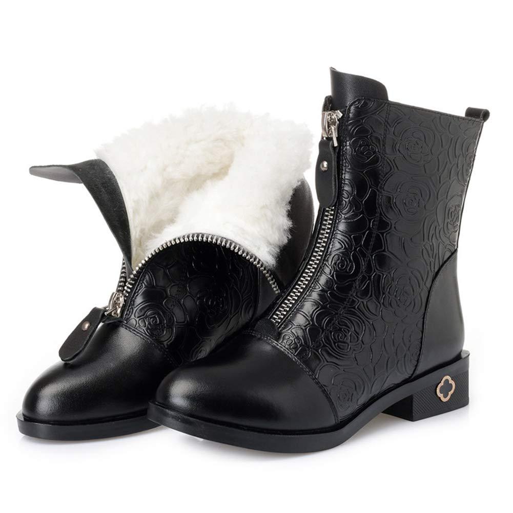 Frauen Stiefeletten Winter Ehemalige ReißVerschluss Kuh Leder NäHen Feste Runde Kappe Damen Niedrigen Ferse Schuhe