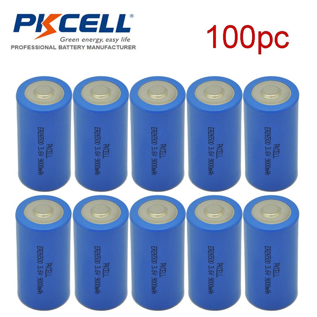 ER26500 Li-SOCl2 Battery C Cell Lithium 9000mAh Battery 100pcs by PKCELL (Image #1)