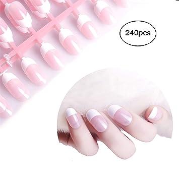 Amazon.com : Siusio 240 Pcs French Fake Nails, 10 Pack Natural Pink ...
