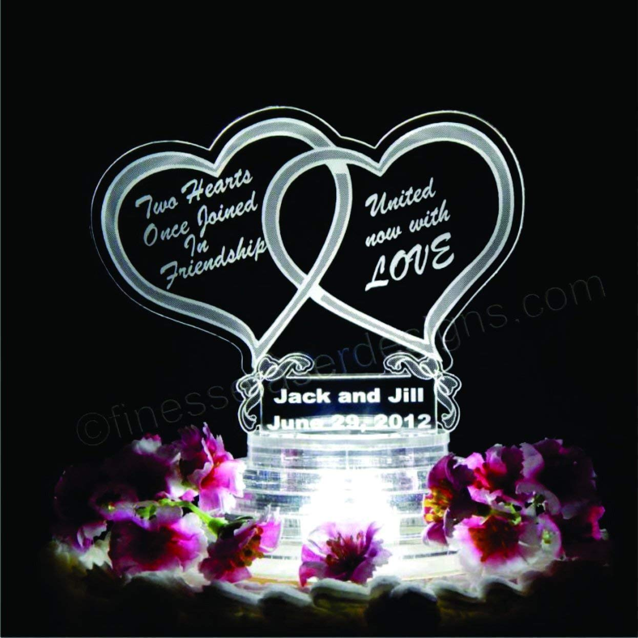 B016CATQO2 Wedding Personalized Custom Double Heart LED Lit Wedding Cake Topper Acrylic Cake Top Personalized, LED and base included 61nrqwm1IeL