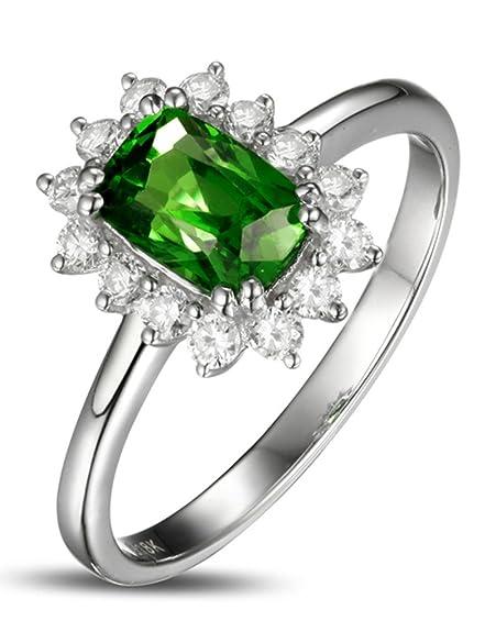 1,50 quilates perfecto esmeralda y anillo de compromiso con Halo de diamantes para mujer