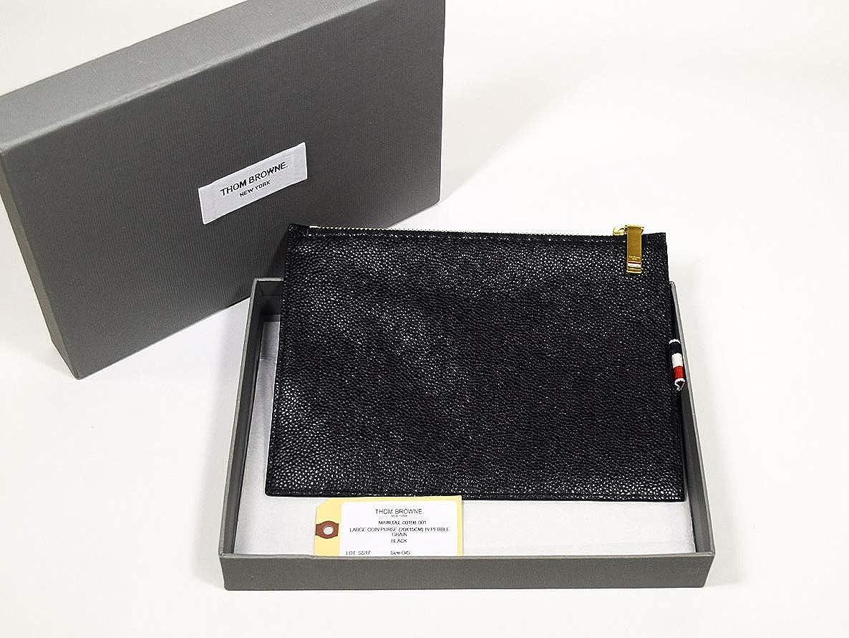 (トムブラウン) THOM BROWNE ラージコインパース ブラック ペブル グレイン カーフレザー MAW026L-00198001   B07N8PGTS9